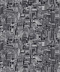 Panel Szklany Na drzwi Hand drawn seamless pattern with big city New York. Vector vintage illustration with NYC architecture, skyscrapers, megapolis, buildings, downtown.