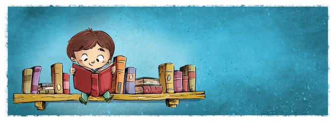 niño leyendo en entanteria de libros