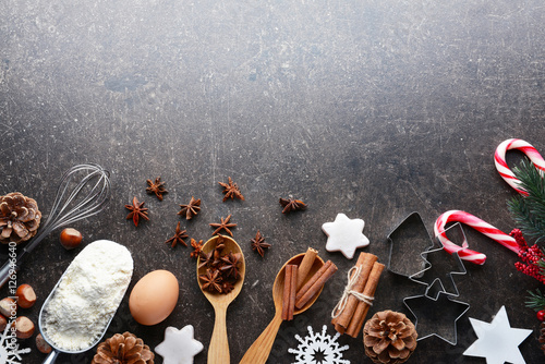 Wall Murals Cafe Composition of products and Christmas decor on dark table