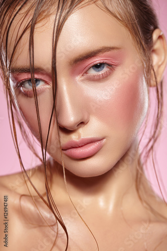 Portrait of girl with bright pink make-up. Plakat