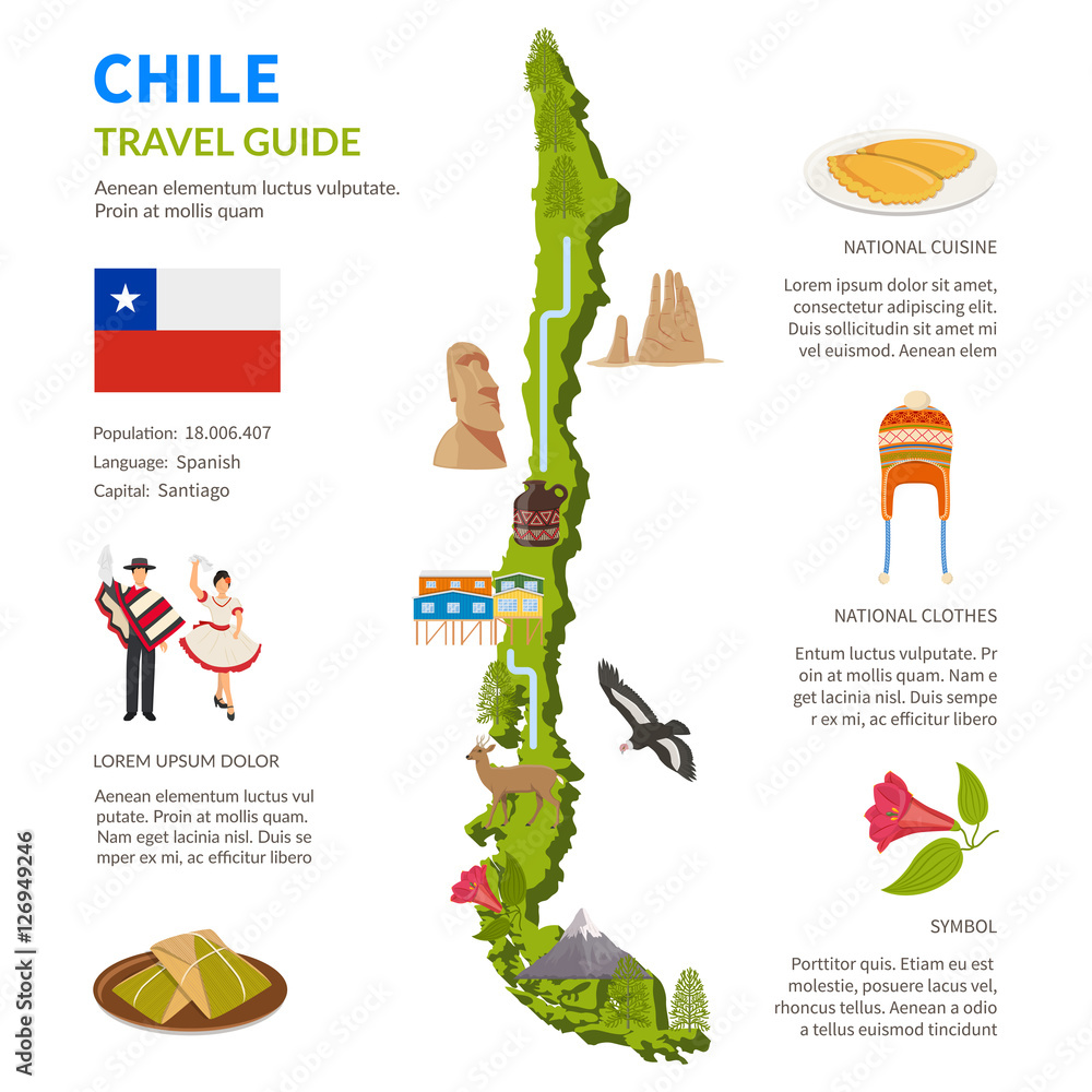 Fotografia Chile Infographics Layout With Map