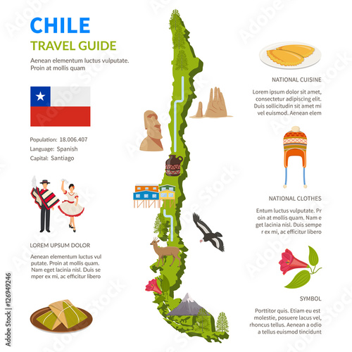 Fényképezés  Chile Infographics Layout With Map