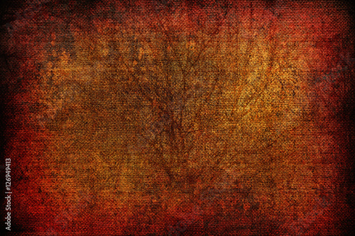 grunge orange background with a landscape on canvas