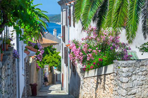 traditional-european-mediterranean-architectural-style-in-the-streets-and-houses-yard-porches-stairs-shutters-in-the-afternoon-sunbeam-surrounded-by-vine-hydrangea-and-palm-at-summer-mali-losinj