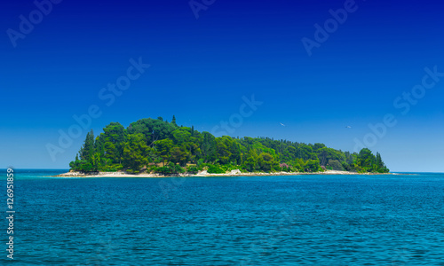 Spoed Foto op Canvas Eiland a small green island in the calm sea in warm summer day
