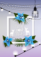 Christmas Greeting Card With  Frame And Blue Poinsettia Flowers, Silhouettes Of Deers And Garlands
