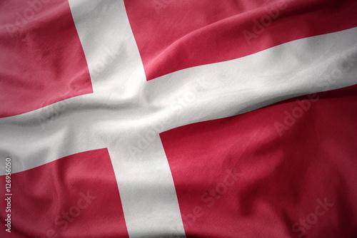 Plakat  waving colorful flag of denmark.