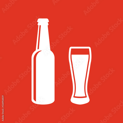Foto  Bottle and glass of beer icon