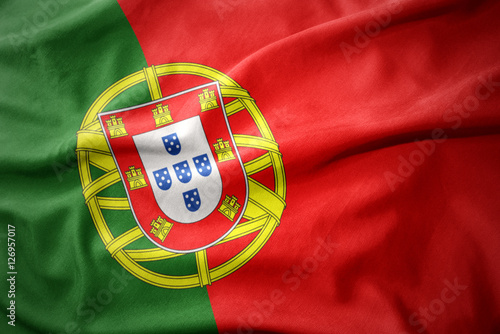Plakat  waving colorful flag of portugal.