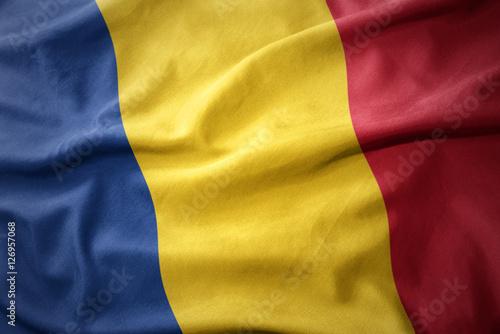 Plakat  waving colorful flag of romania.