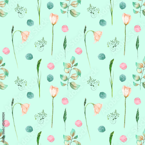 Seamless Floral Pattern With Pink Flowers And Floral Elements Hand Drawn In Watercolor On A Mint Background Buy This Stock Illustration And Explore Similar Illustrations At Adobe Stock Adobe Stock