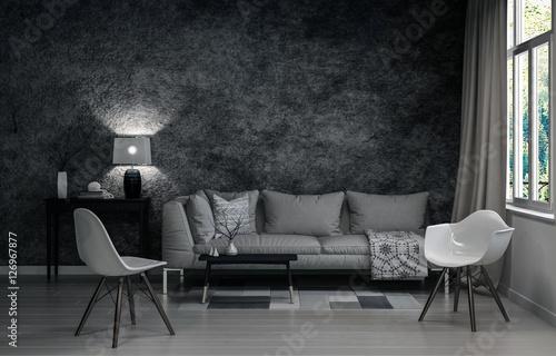 Fotografie, Obraz  3D render of living room in gray colors