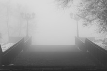Stairs In City In Foggy Autumn Weather