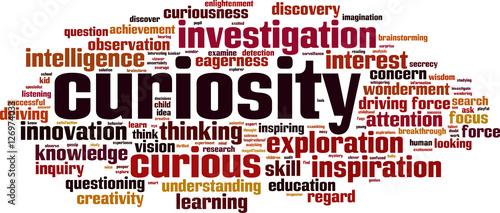Cuadros en Lienzo Curiosity word cloud concept. Vector illustration
