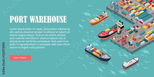 Fotografía  Cargo Port Illustration in Isometric Projection