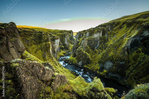 Foto op Plexiglas Canyon Fjadrargljufur canyon and river in south east Iceland