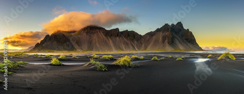 Poster Northern Europe Sunset above Vestrahorn and its black sand beach in Iceland