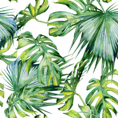 Fototapeta Popularne Seamless watercolor illustration of tropical leaves, dense jungle. Hand painted. Banner with tropic summertime motif may be used as background texture, wrapping paper, textile or wallpaper design.