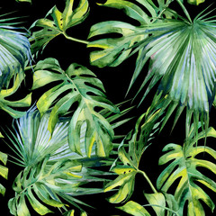 Fototapeta Do biura Seamless watercolor illustration of tropical leaves, dense jungle. Hand painted. Banner with tropic summertime motif may be used as background texture, wrapping paper, textile or wallpaper design.