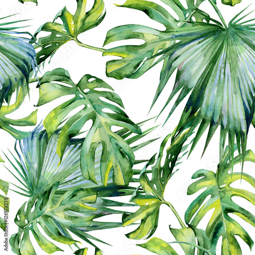Seamless watercolor illustration of tropical leaves, dense jungle. Hand painted. Banner with tropic summertime motif may be used as background texture, wrapping paper, textile or wallpaper design. Wall mural