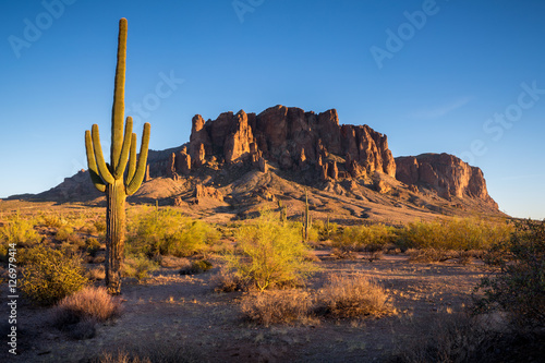 Spoed Foto op Canvas Grijze traf. Superstition Mountains in Arizona