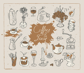 Fototapeta set of vector images on the theme of tea and coffee
