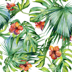 Fototapeta Do jadalni Seamless watercolor illustration of tropical leaves, dense jungle. Hand painted. Banner with tropic summertime motif may be used as background texture, wrapping paper, textile or wallpaper design.