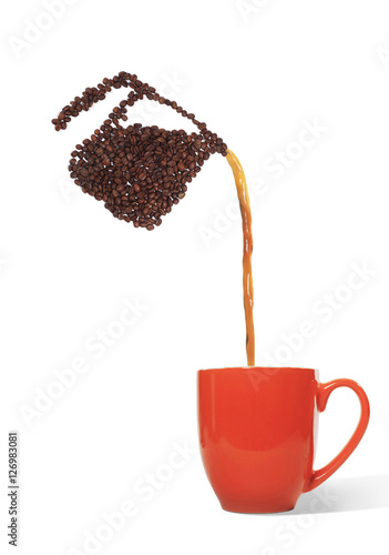 Fotografie, Obraz  Coffee Pot Made of Coffee Beans Pouring Coffee into Cup