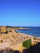 Spain, Catalonia, Tarragona, View of the Tarragona Amphitheatre from the Roman city of Tarraco.