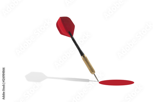 Fotografia, Obraz  Dart outside of a Red Target on a White Background
