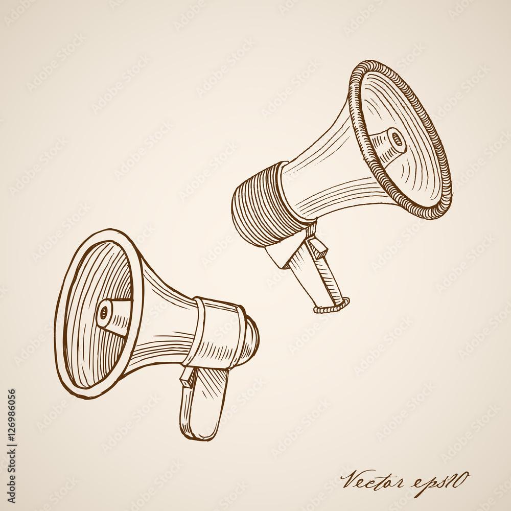 Valokuva  Engraving vintage hand drawn vector loudspeaker doodle collage