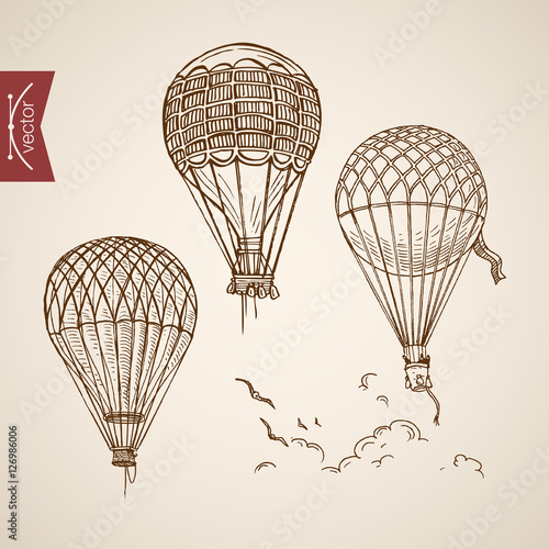 Valokuvatapetti Engraving vintage hand drawn vector flying balloon Pencil Sketch