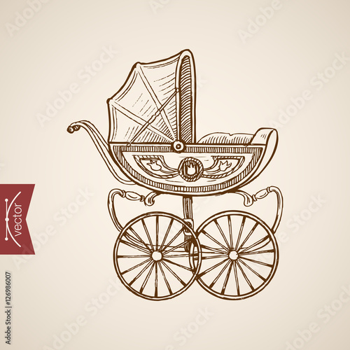 Fotografia, Obraz  Engraving hand vector baby carriage Pencil Sketch
