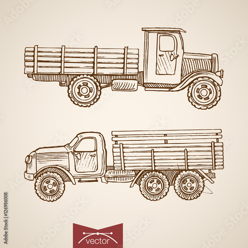 Engraving vintage drawn retro cargo car vector transport Sketch Canvas-taulu