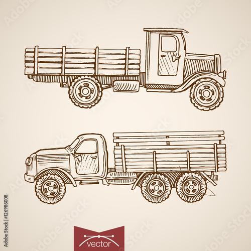 Stampa su Tela Engraving vintage drawn retro cargo car vector transport Sketch