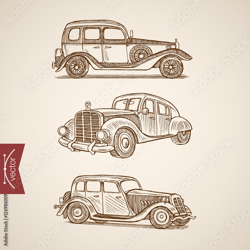 Valokuva  Engraving vintage hand drawn retro car vector transport Sketch