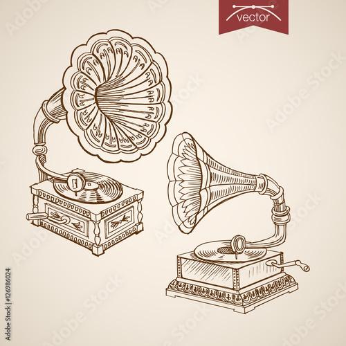 Engraving vintage vector gramophone Sketch retro music recorder Canvas Print