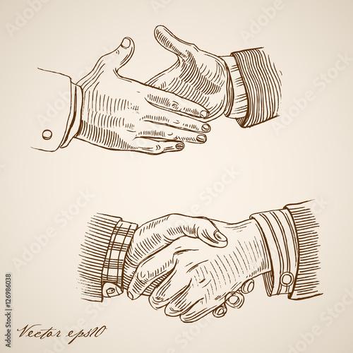 Engraving vintage drawn vector handshake Pencil Sketch partner Canvas-taulu