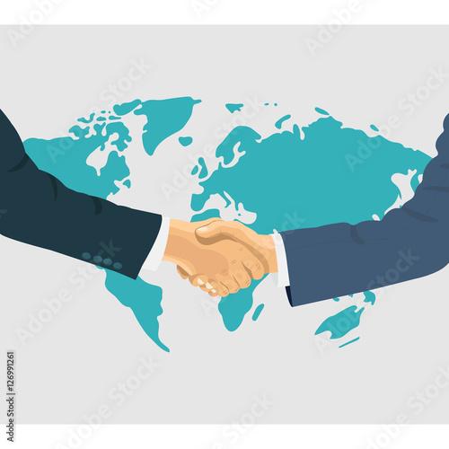 Fotografía  Shaking hands business vector illustration