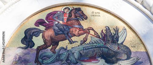 Mosaic of Saint George at the Church of Saint Sava in Belgrade Canvas Print