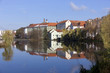 Colorful royal medieval Town Pisek above the river Otava, Czech Republic