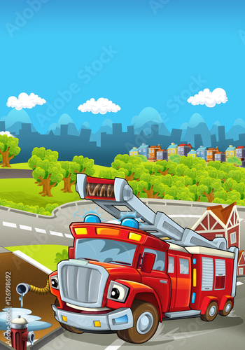 Fototapety, obrazy: Cartoon stage with different machines for firefighting - truck - colorful and cheerful scene - illustration for children