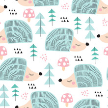 Seamless Hedgehog In The Fores...