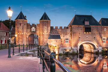 Medieval brick city gate Koppelpoort to Dutch fortress city Amersfoort