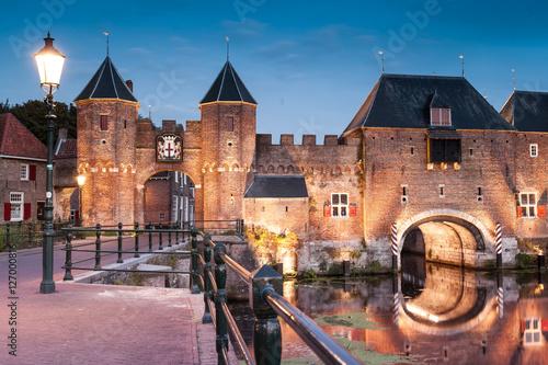 Photo Medieval brick city gate Koppelpoort to Dutch fortress city Amersfoort