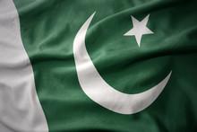 Waving Colorful Flag Of Pakistan.