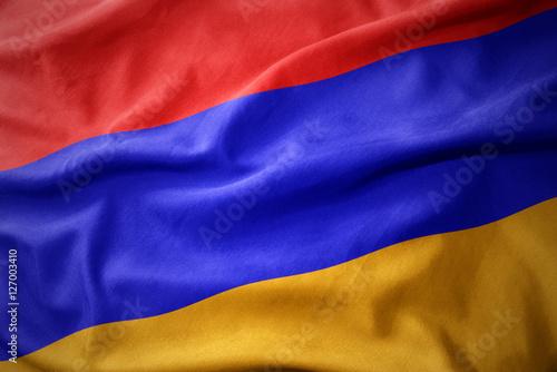 Staande foto Noord Europa waving colorful flag of armenia.