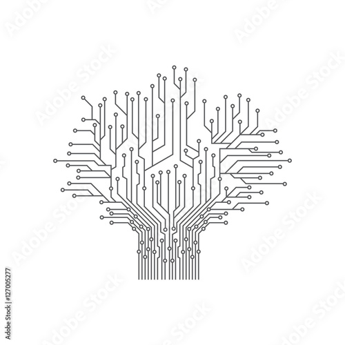 abstract tree electronic printed circuit board vector illustration