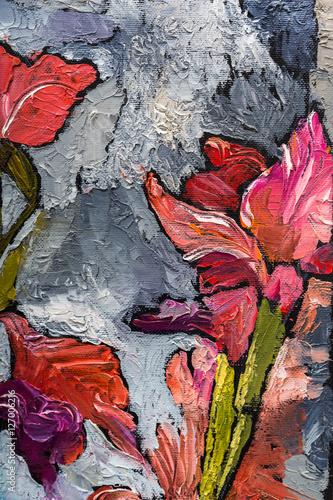 Plakat malowanie martwa natura tekstury oleju, irysy sztuka impresjonizmu, malowany obraz kolorowy, tła i tapety, kwiatowy wzór na płótnie