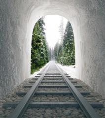 Fototapeta Railway tunnel with landscape view